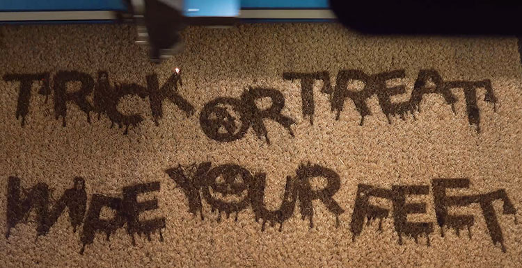 Laser engraved Halloween-themed Coir Doormat